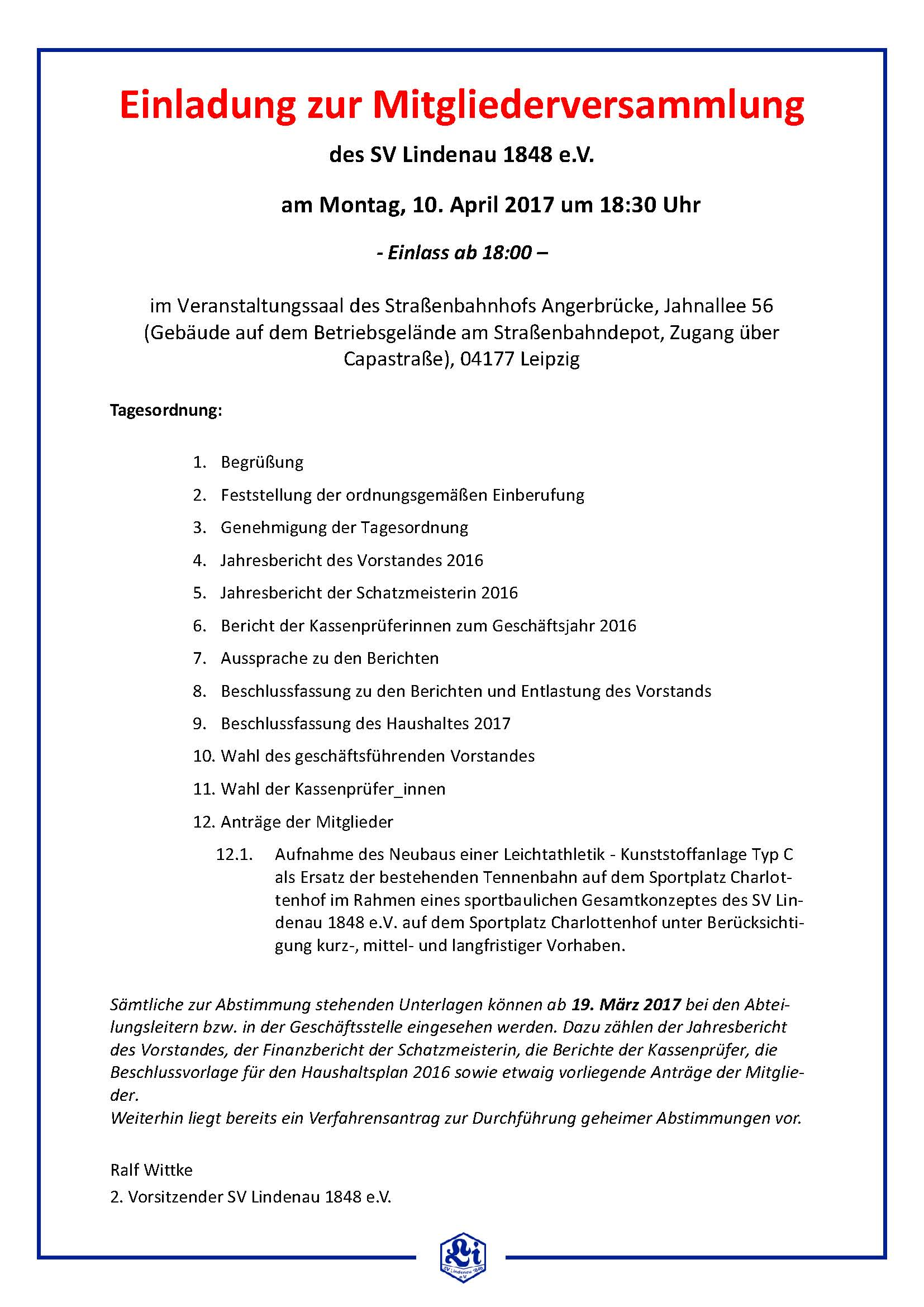 einladung zur mitgliederversammlung 2017 – sv lindenau 1848 e.v., Einladung